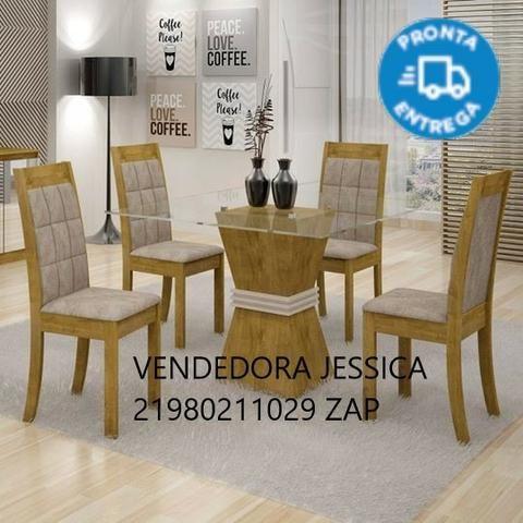 Conjunto Sala De Jantar Mesa Vitória Tampo De Vidro 4 Cadeiras Rubi