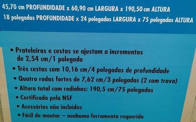 Estante De Aço Cromado 6 Prateleiras Rack Aramado C/ Rodizio - Foto 4