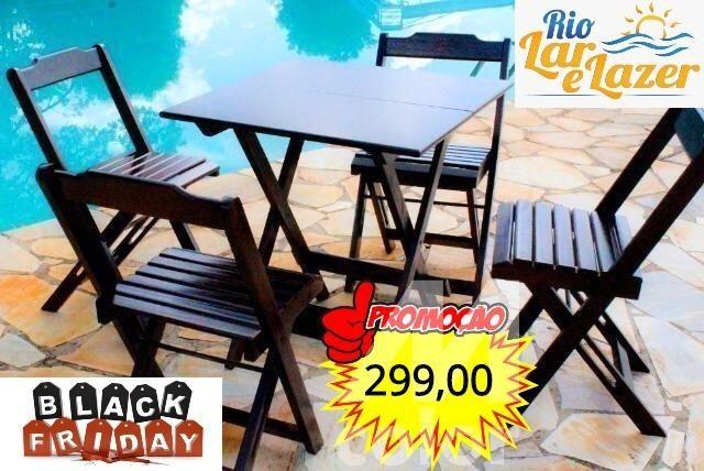 Mesa Bar Dobrável com 4 Cadeiras