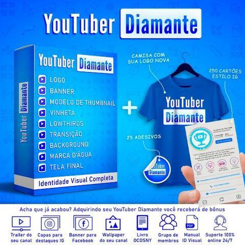 Youtuber Diamante | Identidade Visual Completa + Camisa, adesivos e cartões + 8 Bônus