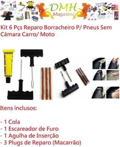 Kit 6 Pçs Reparo Borracheiro P/ Pneus Sem Câmara Carro/ Moto