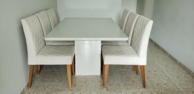 Mesa de Jantar 06 cadeiras Sofia Vidro Off White