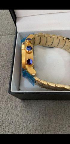 Relógio BVLGARI Skeleton Fundo Azul a prova d'água - Foto 3