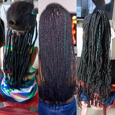 Tranças, dreads, box braids, mega hair etc