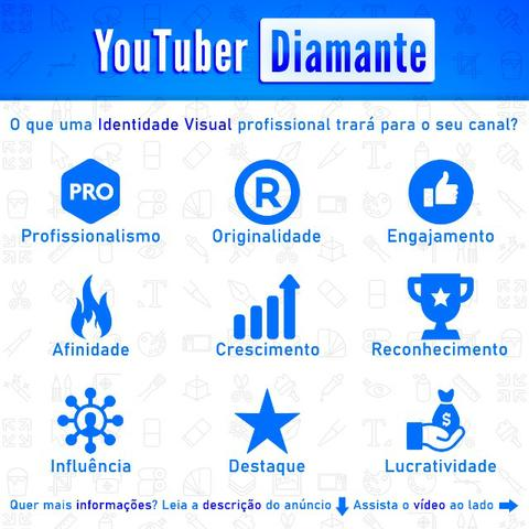 Youtuber Diamante | Identidade Visual Completa + Camisa, adesivos e cartões + 8 Bônus - Foto 2