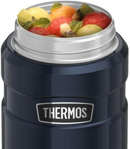 Marmita Térmica 710 ml Inox Thermos 14h Quente 24h Frio Azul - Foto 4