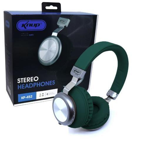 Fone de Ouvido Bluetooth 5.0 KP-452 Knup Com Microfone Rádio FM Micro SD MP3 Recarregável - Foto 3