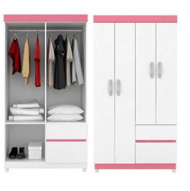 Oferta Especial Guarda Roupa 4 portas (branco/rosa)Novo na Caixa Apenas 399,00