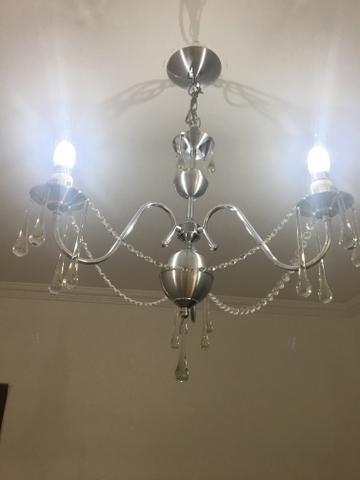 Lustre inox com cristais legítimos para 3 lâmpadas - Objetos de ...