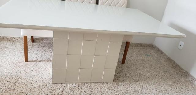 Mesa de Jantar 06 cadeiras Sofia Vidro Off White - Foto 2