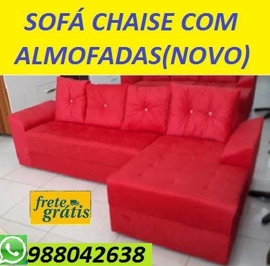 Peça Ja e Receba No Mesmo Dia!!Sofa Chaise 3 Lugares +Almofadas Novo Apenas 799,00