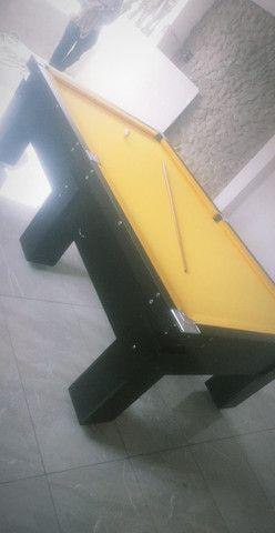 Mesa Gaveta de Sinuca Cor Preta Tecido Amarelo Mod. CJIB6180 - Foto 2