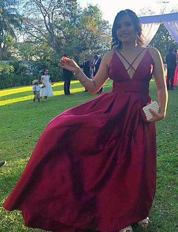 Vestido Longo Festa de Zimbeline Marsala com Cinto Chanel- Closet da May - Foto 3