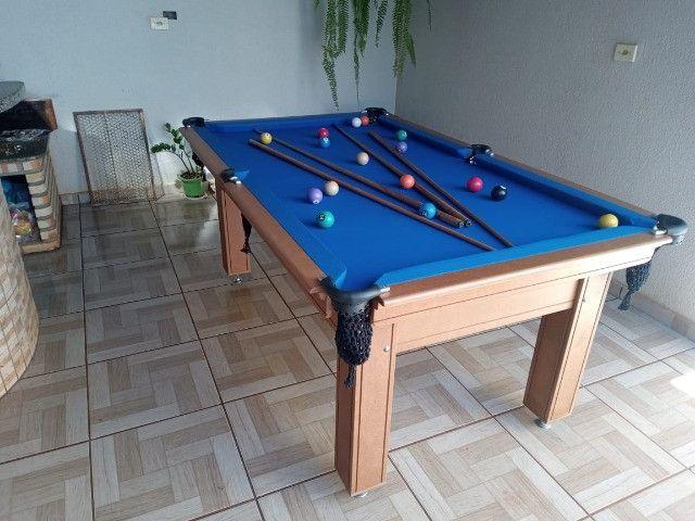Mesa Tentação e Jantar Cor Cerejeira Tecido Azul Mod. RJKE4918 - Foto 3