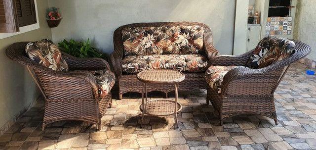 Conjunto de sofá santiago em fibra sintética