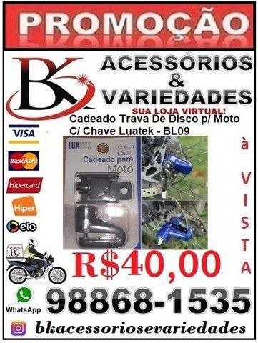 Cadeado Trava De Disco p/ Moto C/ Chave Luatek ?BL09- Aceitamos cartão de Crédito - Foto 4