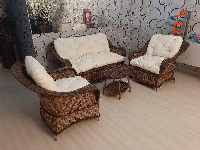 Conjunto de sofá santiago em fibra sintética - Foto 2