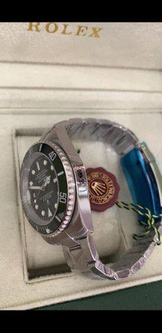 Relógio Rolex Submariner Fundo Preto Automático a prova d'água Completo - Foto 5