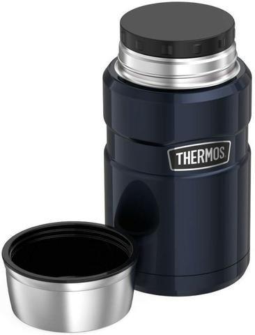Marmita Térmica 710 ml Inox Thermos 14h Quente 24h Frio Azul - Foto 2