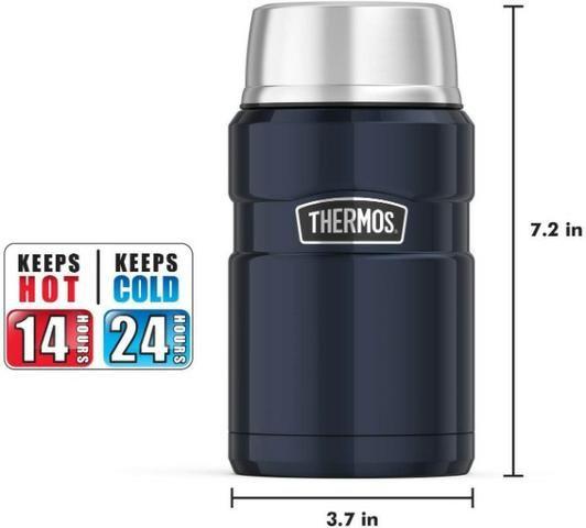 Marmita Térmica 710 ml Inox Thermos 14h Quente 24h Frio Azul - Foto 5