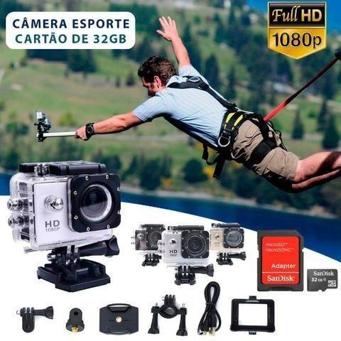 Câmera Esporte 1080p Actioncam + Cartao 32gb + Acessórios