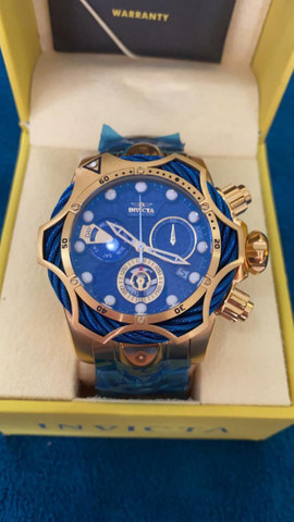 Relógio Invicta Venom Dourado com Azul a prova d'água Completo