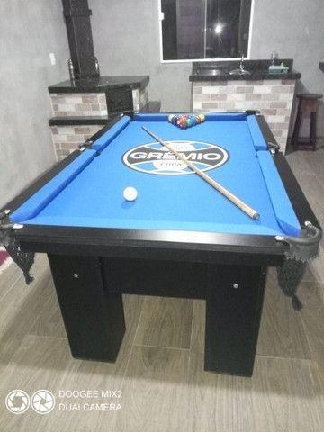 Mesa Charme Quatro Pés Cor Preta Tecido Azul Logo Grêmio Mod. IPFO7867 - Foto 3