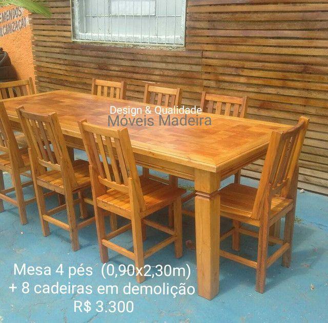 Mesa Jogo Jantar Demolição Mosaico com 8 cadeiras - Foto 2
