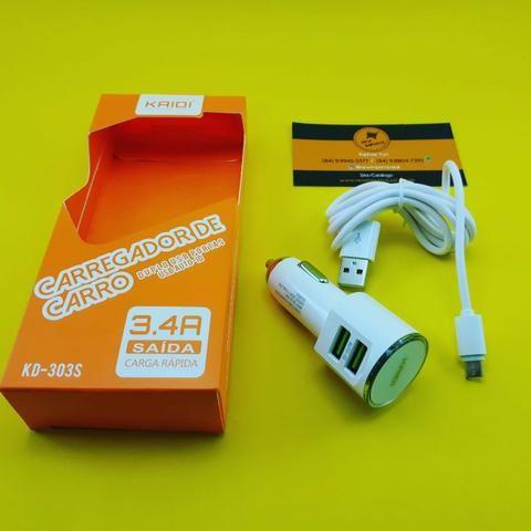 Carregador de Celular ( Veícular ) Kaidi 3.4A ( Micro usb - V8 ) Novo