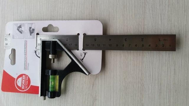 Esquadro Combinado 300mm Worker - Nível Bolha Ajustável - Foto 2