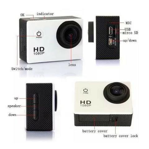 Câmera Esporte 1080p Actioncam + Cartao 32gb + Acessórios - Foto 5