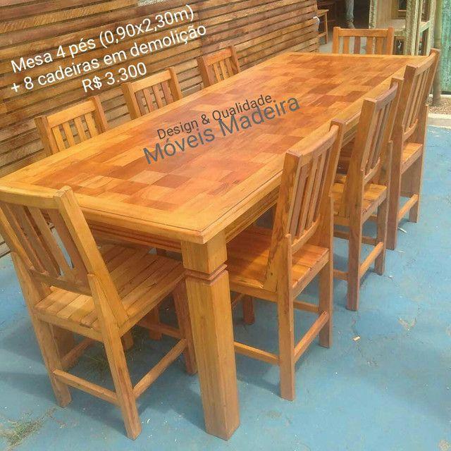 Mesa Jogo Jantar Demolição Mosaico com 8 cadeiras