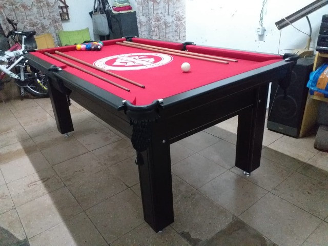 Mesa Tentação de Bilhar Cor Preta Tecido Vermelho Logo Internacional Mod. EQKB9782 - Foto 3