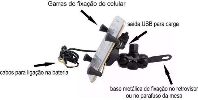 Suporte Celular Moto c/Carregador USB Garra Aranha- Imperium Informatica - Foto 3