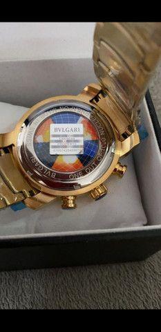 Relógio BVLGARI Skeleton Fundo Azul a prova d'água - Foto 5