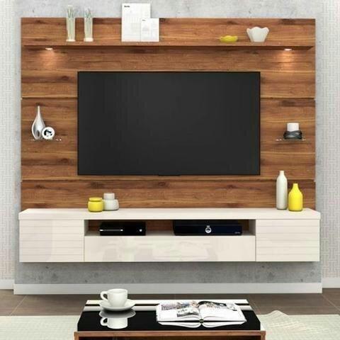 Painel para TV Estilo com LED - Rustico Terrara/Off White Mega Lançamento super lindoo