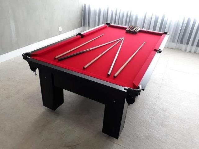 Mesa de Redinhas Seis Pés Laterais Tecido Vermelho Cor Preta Modelo CPO4578 - Foto 2