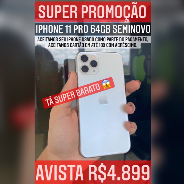 iPhone 11 Pro 64gb SUPER OFERTA, aceitamos seu iPhone usado como parte do pagamento.