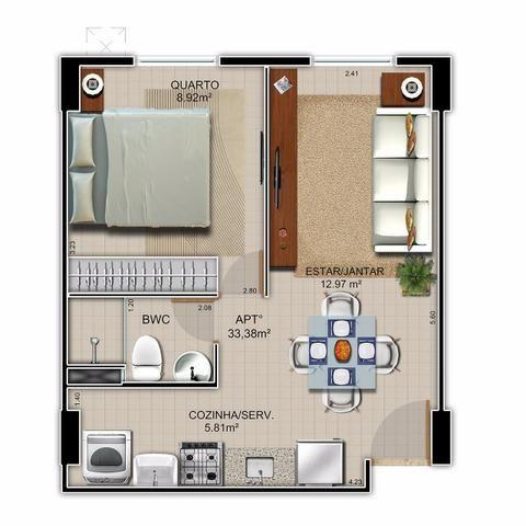 Quarto e Sala - Mobiliado ou sem mobília