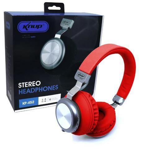 Fone de Ouvido Bluetooth 5.0 KP-452 Knup Com Microfone Rádio FM Micro SD MP3 Recarregável - Foto 2