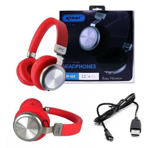Fone de Ouvido Bluetooth 5.0 KP-452 Knup Com Microfone Rádio FM Micro SD MP3 Recarregável - Foto 6