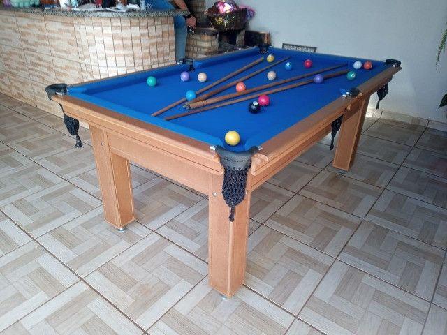 Mesa Tentação e Jantar Cor Cerejeira Tecido Azul Mod. RJKE4918