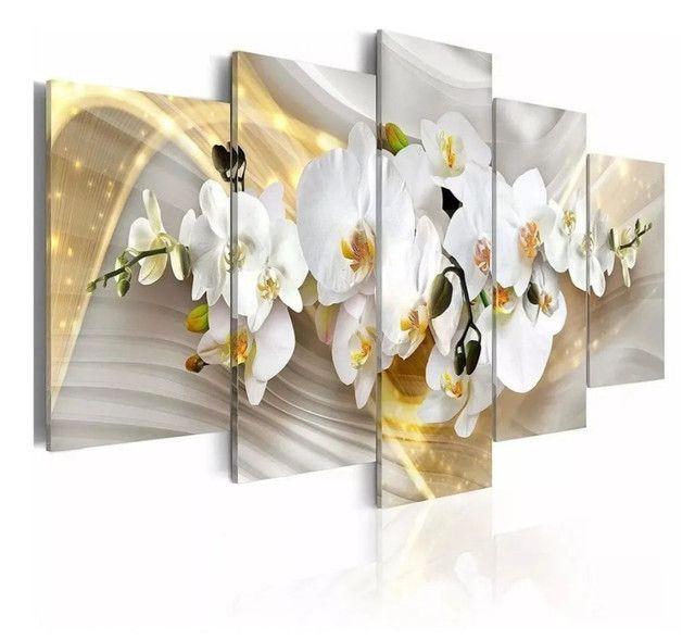 Quadros Decorativos Orquídea Branca Dourada 5 Pçs