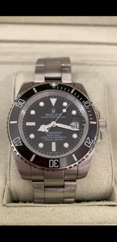 Relógio Rolex Submariner Fundo Preto Automático a prova d'água Completo