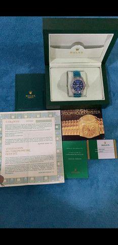 Relógio Rolex Oyster Perpetual Datejust Fundo Azul automático a prova d'água Completo - Foto 6