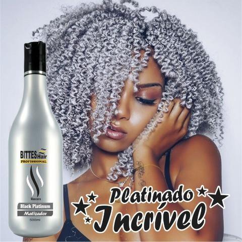 Black Platinum Matizador Bittes Hair 500 ml Cabelos Matizados e Hidratados Acinzentados - Foto 5