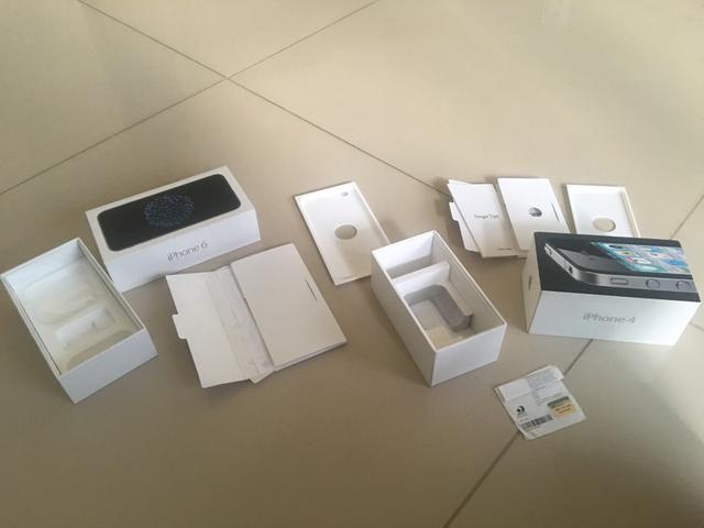 Caixas iPhone 6 e iPhone 4
