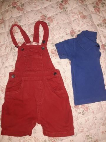 a86421275c314 Conjunto camisa POLO MALWEE e jardineira infantil 1 ano - Artigos ...