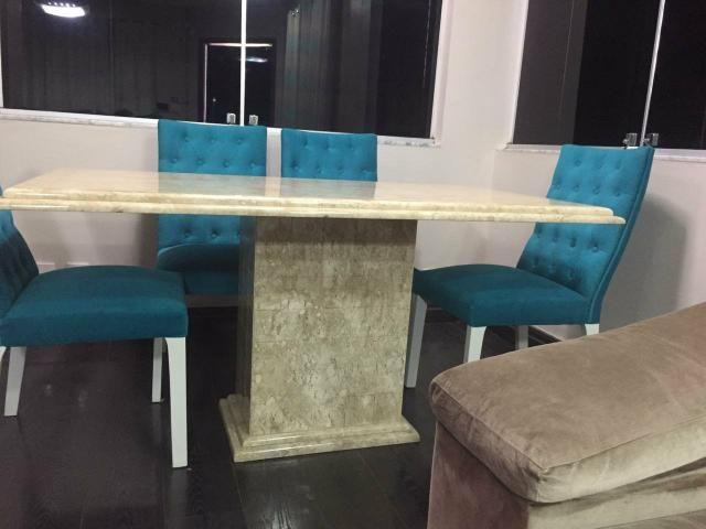 Mesa 1,60 x 90cm com 6 cadeiras capitonê, alto padrão - Foto 4