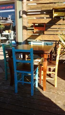 Mesa rústica para restaurante com 4 cadeiras - Foto 5